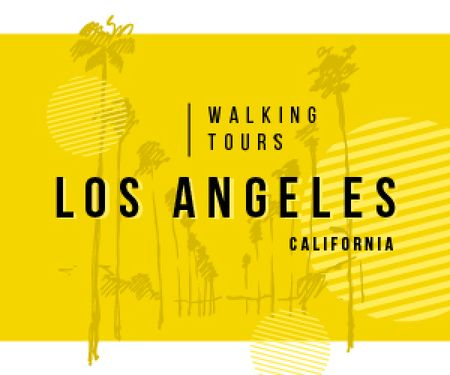 Designvorlage Los Angeles City Tour Promotion Palms in Yellow für Medium Rectangle