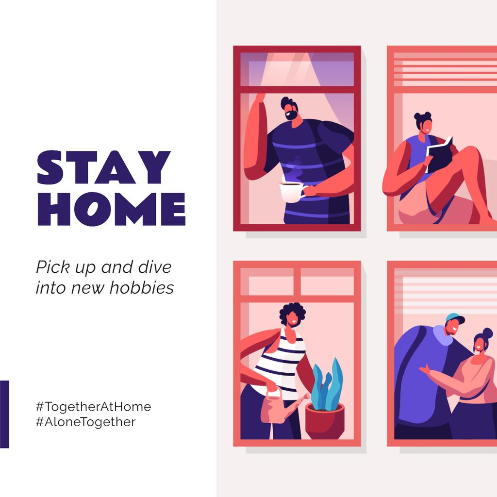 #TogetherAtHome People doing hobbies and communicating with family Instagram Modelo de Design