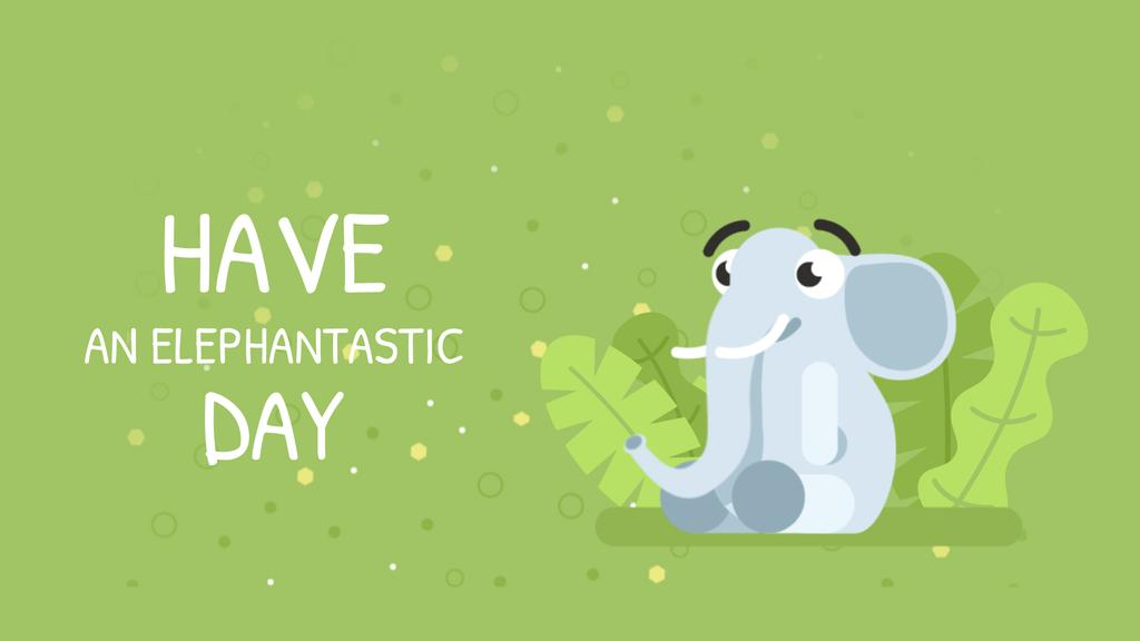 Good Day Wishing Elephant Blowing Rainbow — Maak een ontwerp