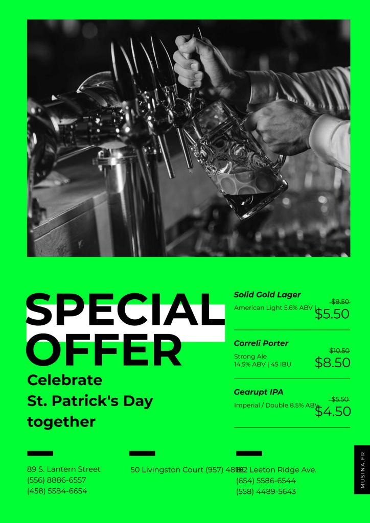 Barman pours Beer on St.Patricks Day — Modelo de projeto