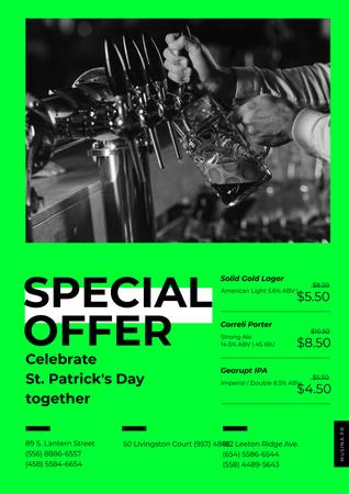 Ontwerpsjabloon van Poster van Barman pours Beer on St.Patricks Day