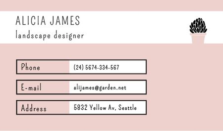 Plantilla de diseño de Landscape Designer Services Offer Business card