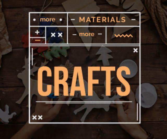 more materials more crafts banner for handmade workshop Medium Rectangle Modelo de Design