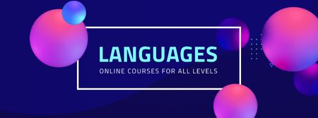 Template di design Online Languages Courses Ad Facebook cover