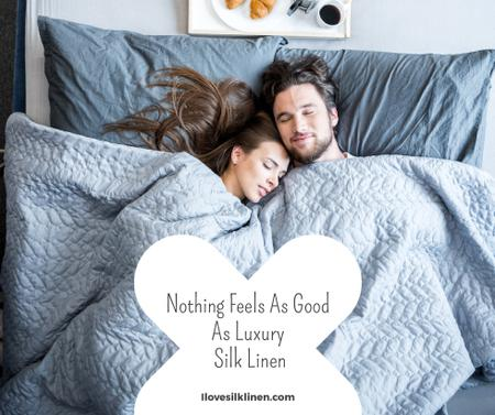 Bed Linen ad with Couple sleeping in bed Facebookデザインテンプレート
