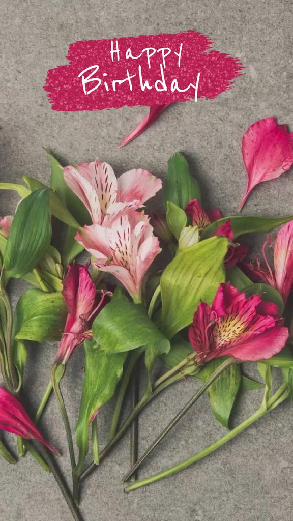 Birthday Greeting with Flowers bouquet - Vytvořte návrh