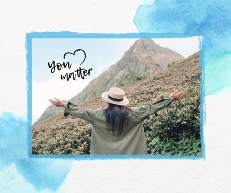Mental Health Inspiration with Woman in Mountains Facebook – шаблон для дизайну