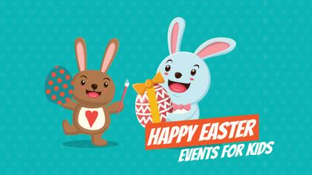 Cartoon Easter bunnies with colored eggs Full HD video Modelo de Design