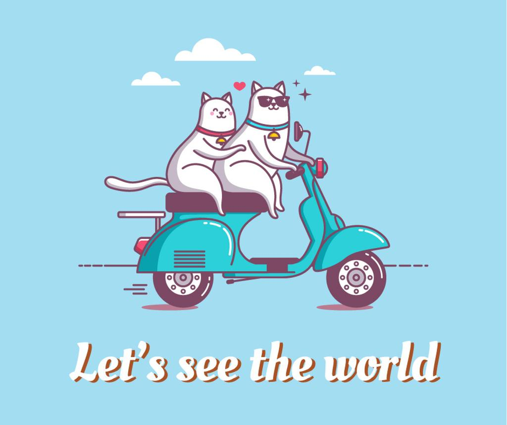 Motivational travel quote with cats on Scooter — Créer un visuel