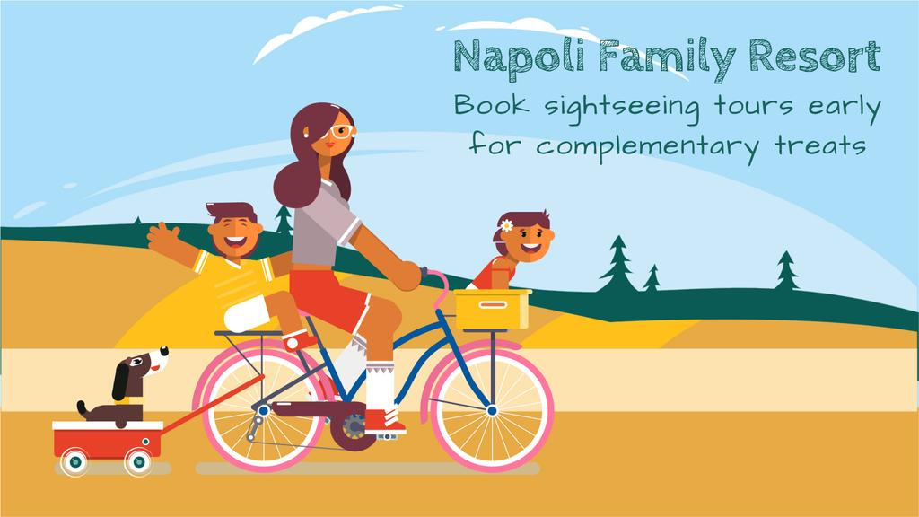 Sightseeing Tour Offer Family on a Bicycle Ride | Full Hd Video Template — ein Design erstellen