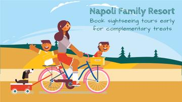 Sightseeing Tour Offer Family on a Bicycle Ride | Full Hd Video Template