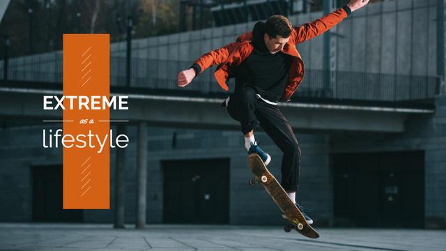 Man on Skateboard Presentation Wide – шаблон для дизайну