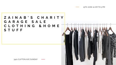 Charity Sale announcement Black Clothes on Hangers FB event coverデザインテンプレート