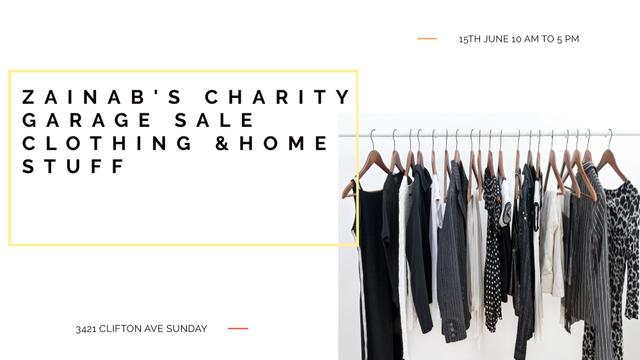 Charity Sale announcement Black Clothes on Hangers FB event cover – шаблон для дизайну