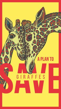 Plantilla de diseño de Mother giraffe with cub Instagram Story