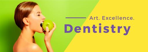 Dentistry Theme Woman Biting Apple TumblrBanner