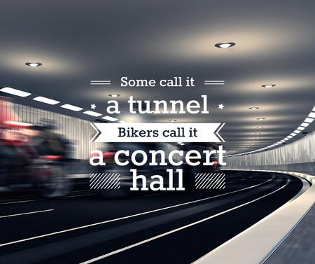 Ontwerpsjabloon van Facebook van Bikers Riding in Road Tunnel