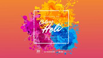 Indian Holi Festival Colorful Frame