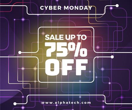 Cyber Monday Sale on Digital network pattern Facebook Design Template