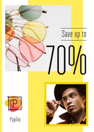 Plantilla de diseño de Sunglasses Sale Stylish Men in Yellow Flayer