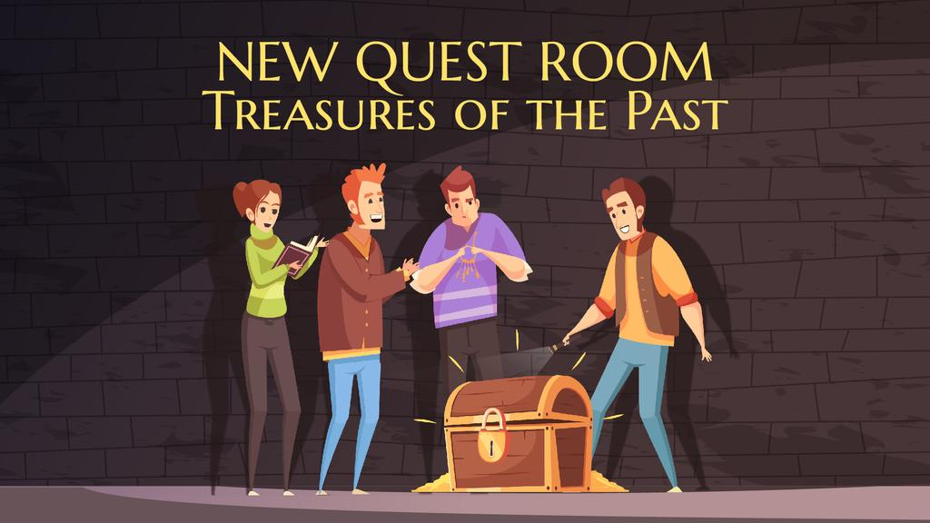 Quest Room Invitation Friends Opening Treasure Chest — Crea un design