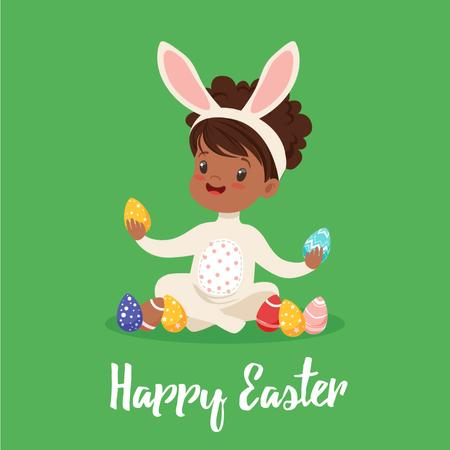 Plantilla de diseño de Kid in Easter bunny costume Animated Post