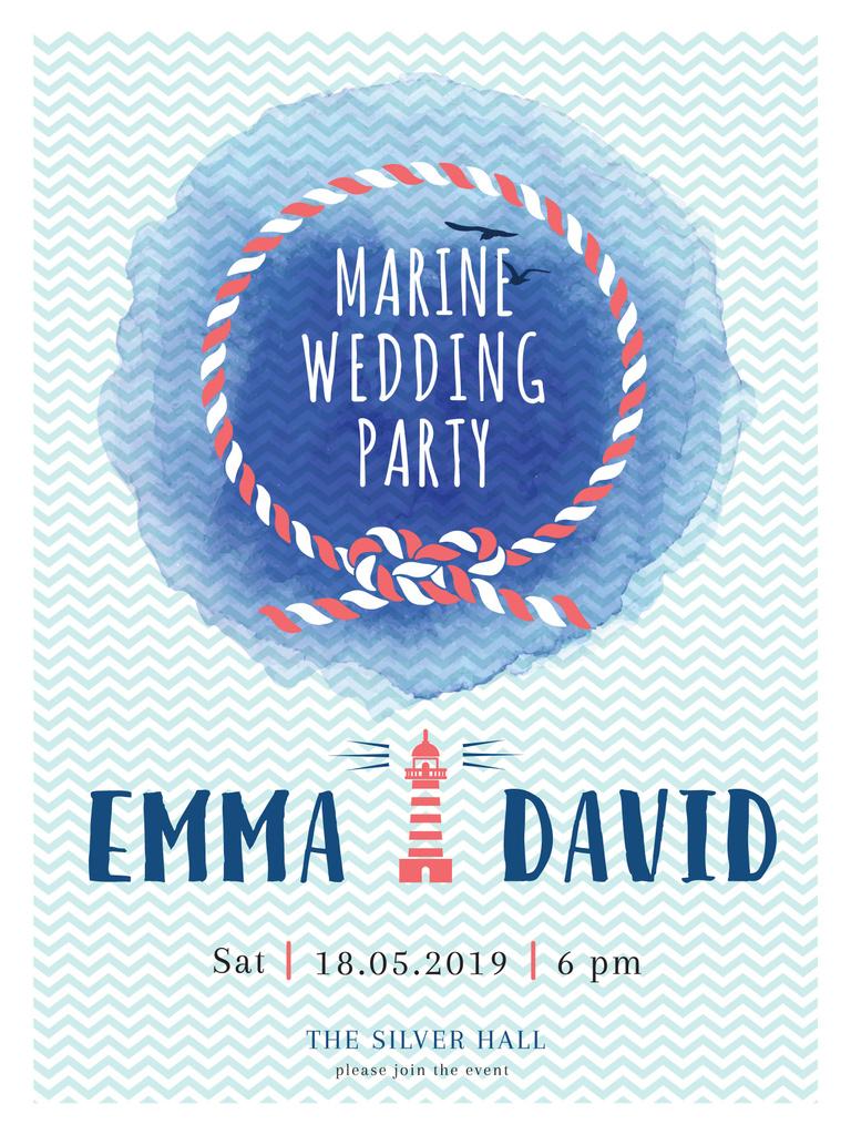 Marine wedding day invitation card — Modelo de projeto