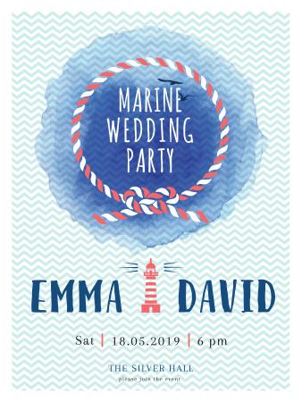 Marine Wedding Party invitation in Blue Poster US Tasarım Şablonu