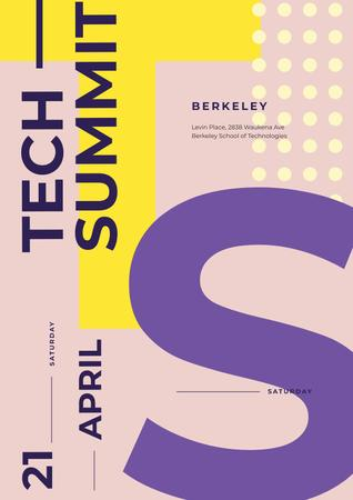 Tech Summit on Colorful geometric pattern Posterデザインテンプレート