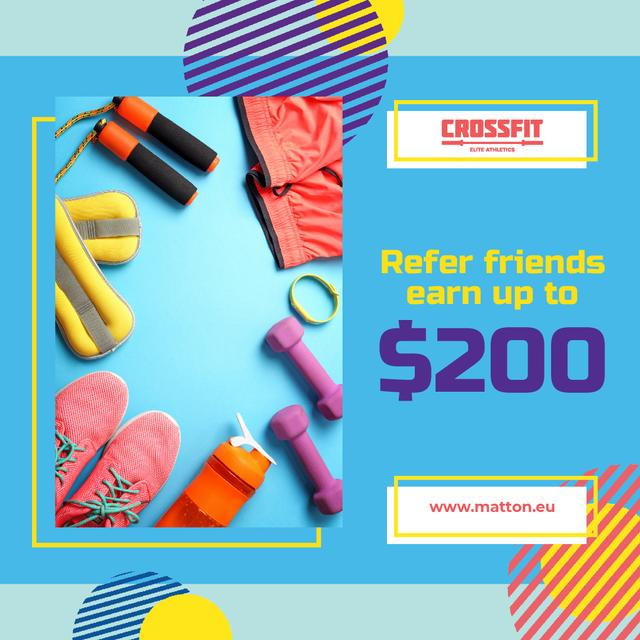 Fitness Ad with Sports Equipment in Blue Animated Postデザインテンプレート