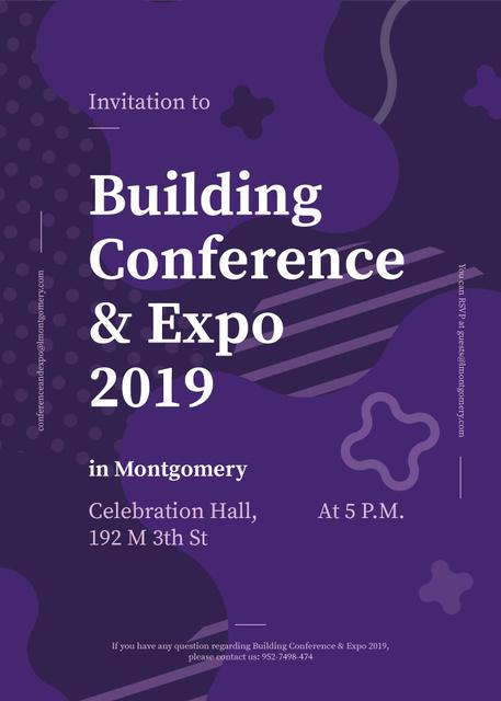 Building Expo ad on Purple lines and blots Invitation Modelo de Design