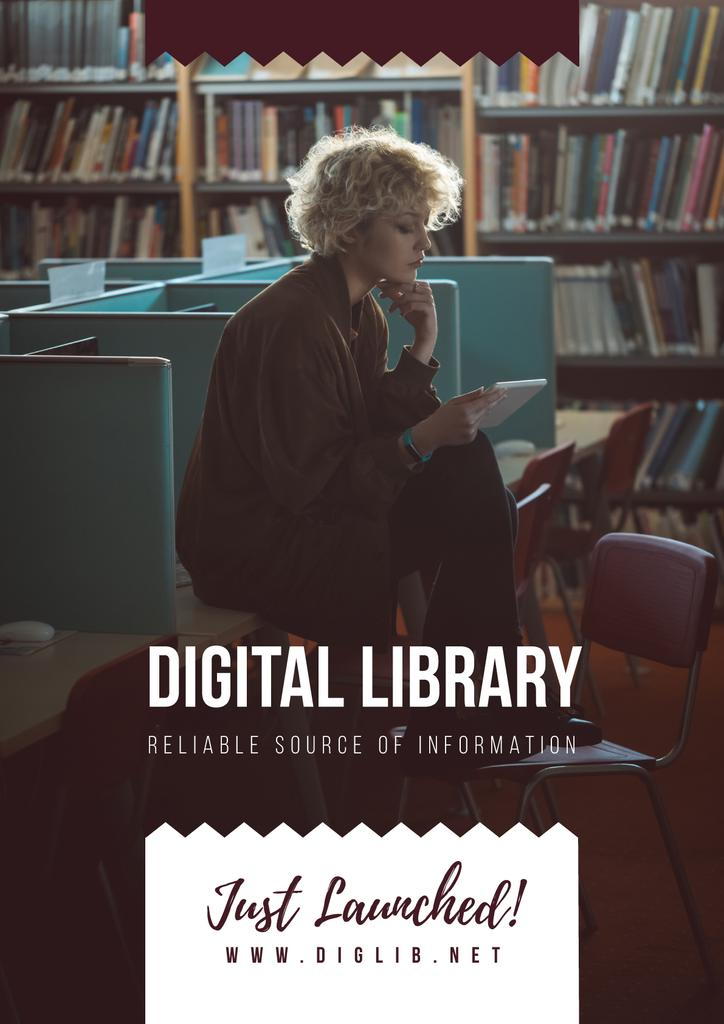 Woman reading e-book in library — Modelo de projeto