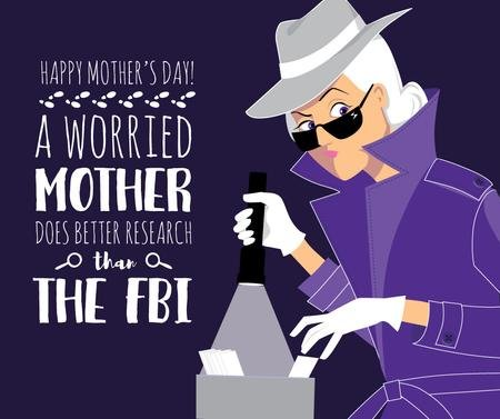 Ontwerpsjabloon van Facebook van Happy Mother's Day greeting with Mom detective