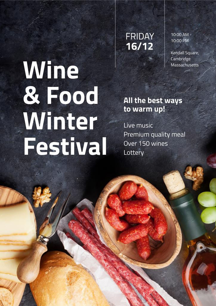 Food Festival Invitation with Wine and Snacks — Create a Design