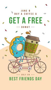 Coffee cup and doughnut riding bicycle