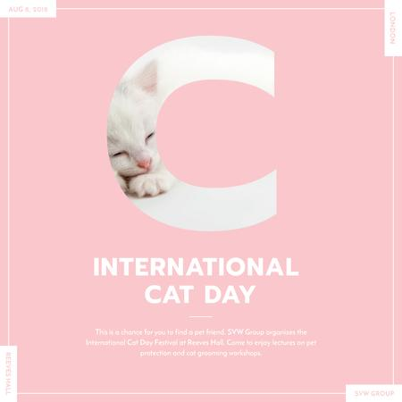 Designvorlage Sleepy Kitty on International Cat Day für Instagram AD