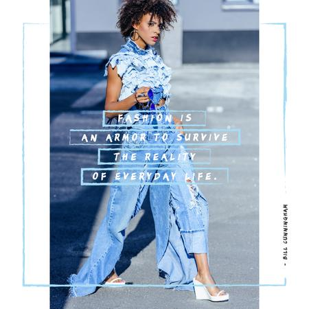 Designvorlage Young attractive woman in denim clothes für Instagram