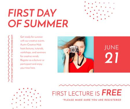 Plantilla de diseño de Girl with camera for on First day of summer Facebook