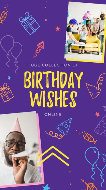 Birthday Wishes Ad People at Birthday Party Instagram Storyデザインテンプレート