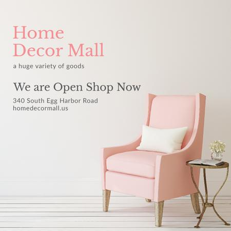 Modèle de visuel Furniture Store ad with Armchair in pink - Instagram AD