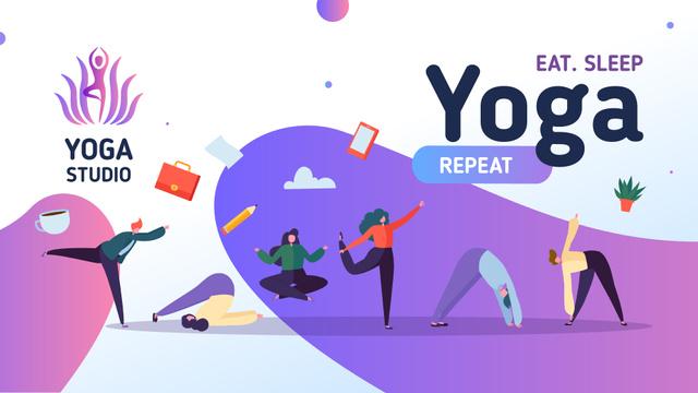 Designvorlage People practicing yoga für Presentation Wide