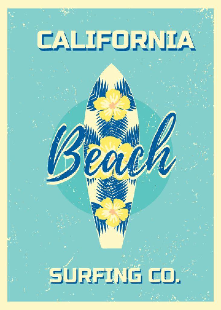 Surfing Tour Offer Surfboard on Blue — Maak een ontwerp