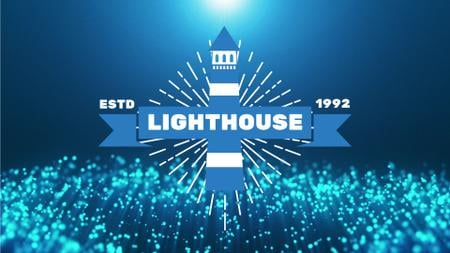 Plantilla de diseño de Lighthouse Icon on Glowing Waving Bubbles Full HD video