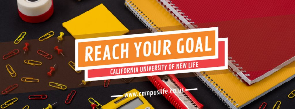 University Ad with School Stationery on Table — Crea un design