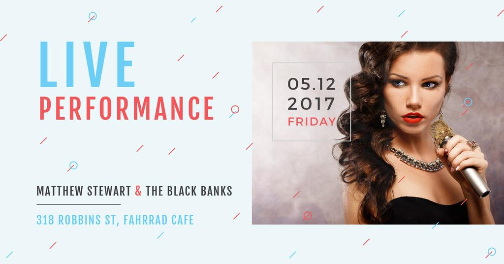 Live performance Annoucement with singing Woman Facebook AD Design Template