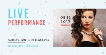 Live performance Annoucement with singing Woman