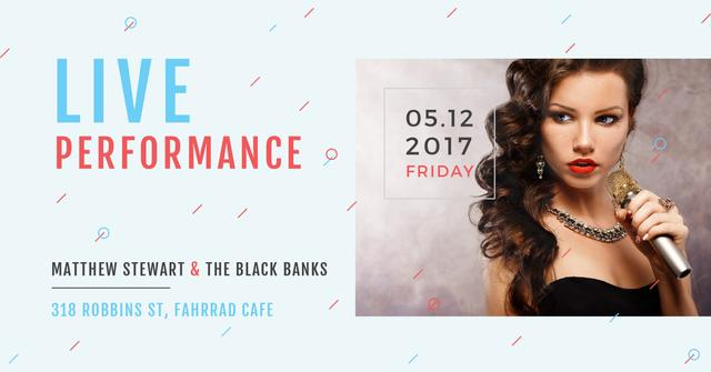 Template di design Live performance Annoucement with singing Woman Facebook AD