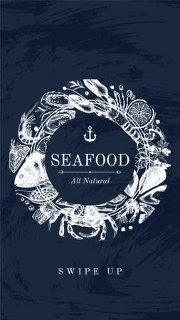 Seafood Offer with Fish Pattern Instagram Story – шаблон для дизайну