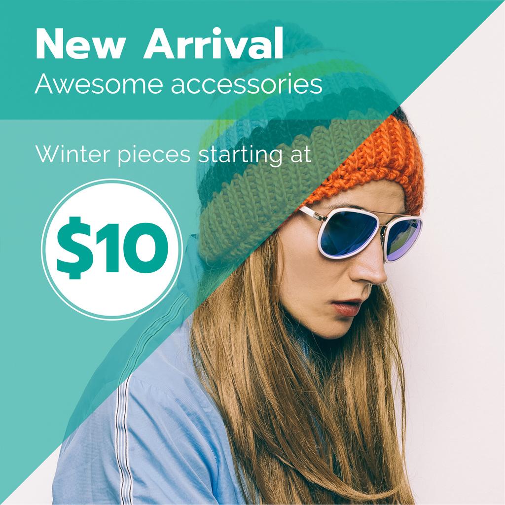 Winter Sale with Girl in hat and sunglasses — Crear un diseño