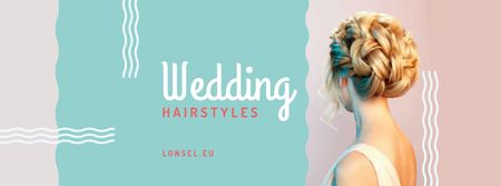 Szablon projektu Wedding Hairstyles Offer with Bride with Braided Hair Facebook cover